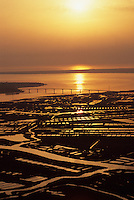 Europe/France/Poitou-Charentes/17/Charente-Maritime/Estuaire de la Seudre: L'estuaire et les parcs à huitres au soleil couchant - à l'arrière plan, le pont de l'Ile d'Oléron