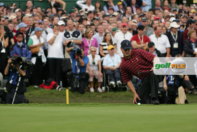 September 24th, 2006. American Ryder Cup team player Zach Johnson on the 16th green during the singles final session of the last day of the 2006 Ryder Cup at the K Club in Straffan,. County Kildare in the Republic of Ireland...Photo: Fran Caffrey/ Newsfile.