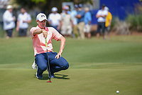 Justin Rose (GBR) lines up Henrik Stenson's (SWE) putt on 17 during Round 2 of the Zurich Classic of New Orl, TPC Louisiana, Avondale, Louisiana, USA. 4/27/2018.<br /> Picture: Golffile | Ken Murray<br /> <br /> <br /> All photo usage must carry mandatory copyright credit (&copy; Golffile | Ken Murray)