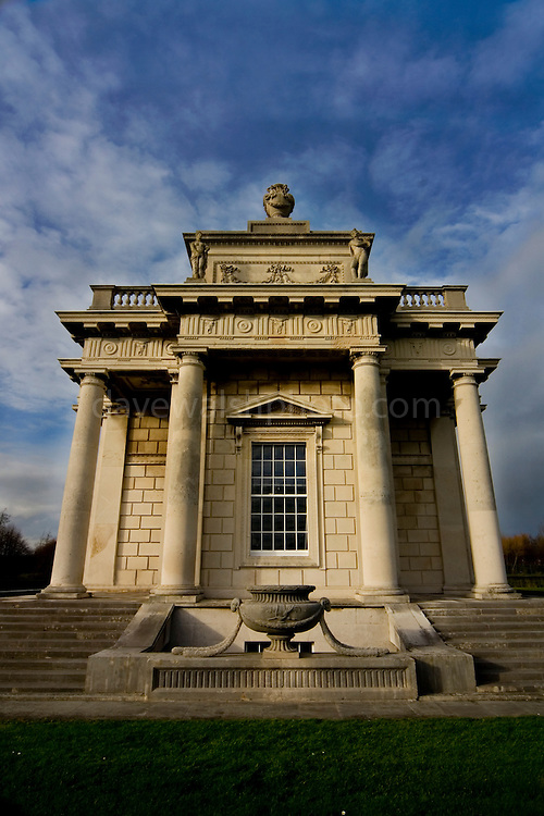 The Casino at Marino was designed by Scottish architect Sir William Chambers for James Caulfield, the 1st Earl of Charlemont. It was started in the late 1750s and finished around 1775. It is a small but  perfect example of Neo-Classical architecture in the gardens of the now demolished Marino House. Chambers was prouod of his work, never completed building due to work commitments in England...The rather odd (by Irish standards) name 'Casino Marino' is derived from Italian which literally translates to 'The small house by the small sea'. Sightly pretentious, yes, but that was the taste of the time. Regarded by many as the most important Neo-Classical building in Ireland, the Casino is only fifty feet square to the outer columns, taking the form of a Greek Cross with a pair of columns framing each projecting elevation. Seen from the outside, the building has the appearance of a single-roomed structure, with a large panelled door on the north elevation and a single large window on each of the other elevations. It's all an illusion, however - the Casino actually has 16 rooms on three floors. Only two of the panels in the front door open, and the panes of glass in the windows are subtly curved, disguising the partitioning which allows what looks like a single window to serve several separate rooms. The curves also serve to act as one-way-mirrors - you can see out of the front window looking towards Dublin and the mountains, but if you try to look in, you just see reflections of the sky and garden. Inside is full of mouldings based on Roman and Greek mythology, with lots of other architectural tricks. ...