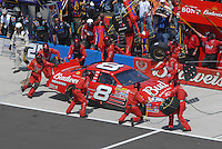 Apr 29, 2007; Talladega, AL, USA; Nascar Nextel Cup Series driver Dale Earnhardt Jr (8) pits during the Aarons 499 at Talladega Superspeedway. Mandatory Credit: Mark J. Rebilas