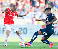 4th February 2020; National Stadium of Chile, Santiago, Chile; Libertadores Cup, Universidade de Chile versus Internacional; Diego Carrasco of Universidad de Chile tackles D'Alessandro of Internacional