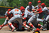 Chaminade High School teammates celebrate after championship-clinching 10-0 win over St. Dominic in Game 2 of the NSCHSAA varsity baseball final at New York Institute of Technology on Monday, May 25, 2015.<br /> <br /> James Escher