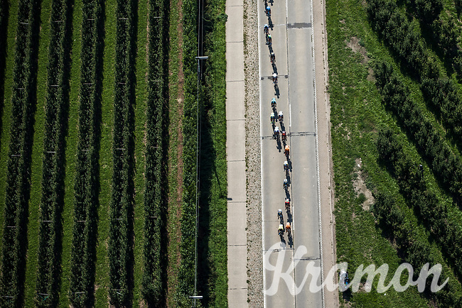 """Birds view of the peloton<br /> <br /> Antwerp Port Epic 2018 (formerly """"Schaal Sels"""")<br /> One Day Race: Antwerp > Antwerp (207km of which 32km are cobbles & 30km is gravel/off-road!)"""