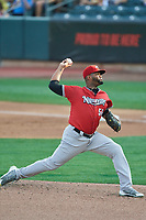 Nashville Sounds starting pitcher Raul Alcantara (55) delivers a pitch to the plate against the Salt Lake Bees  at Smith's Ballpark on July 27, 2018 in Salt Lake City, Utah. The Bees defeated the Sounds 8-6. (Stephen Smith/Four Seam Images)