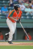 Designated hitter Arturo Rodriguez (54) of the Greensboro Grasshoppers bats in a game against the Greenville Drive on Tuesday, August 25, 2015, at Fluor Field at the West End in Greenville, South Carolina. Greenville won, 7-0. (Tom Priddy/Four Seam Images)