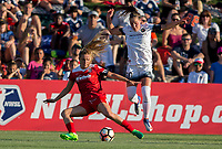 Boyds, MD. - Saturday, June 24 2017:  Kristie Mewis, Celeste Boureille during a regular season National Women's Soccer League (NWSL) match between the Washington Spirit and the Portland Thorns FC at Maureen Hendricks Field, Maryland SoccerPlex.<br />  The Washington Spirit defeated the Portland Thorns FC 1-0.