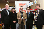 "Frank Maher chose Derek McAuley's ""In a Spin"" as his personal favourite photo in the Exhibition and presented him with the Joan Wakelin Trophy.  Pictured here with Elaine Grennan of Beverage Business Solutions, Colin Bell and Mayor Michael O'Dowd at the Launch of the Drogheda Photographic Club's Annual Exhibition in Drogheda Library, Stockwell Street...Photo NEWSFILE/Jenny Matthews.(Photo credit should read Jenny Matthews/NEWSFILE)....This Picture has been sent you under the condtions enclosed by:.Newsfile Ltd..The Studio,.Millmount Abbey,.Drogheda,.Co Meath..Ireland..Tel: +353(0)41-9871240.Fax: +353(0)41-9871260.GSM: +353(0)86-2500958.email: pictures@newsfile.ie.www.newsfile.ie.FTP: 193.120.102.198."