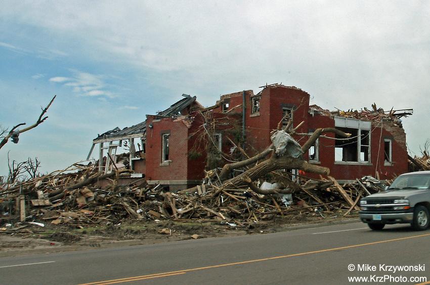 F5 tornado damage in Greensburg, KS, May, 2007