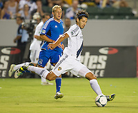 CARSON, CA - August 31, 2013: Los Angeles Galaxy defender Omar Gonzalez (4) during the LA Galaxy vs San Jose Earthquakes match at the StubHub Center in Carson, California. Final score, LA Galaxy 3, San Jose Earthquakes  0.