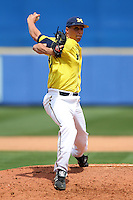 March 21, 2010:  Pitcher Jeff DeCarlo (40) of the Michigan Wolverines delivers a pitch during a game at Tradition Field in St. Lucie, FL.  Photo By Mike Janes/Four Seam Images