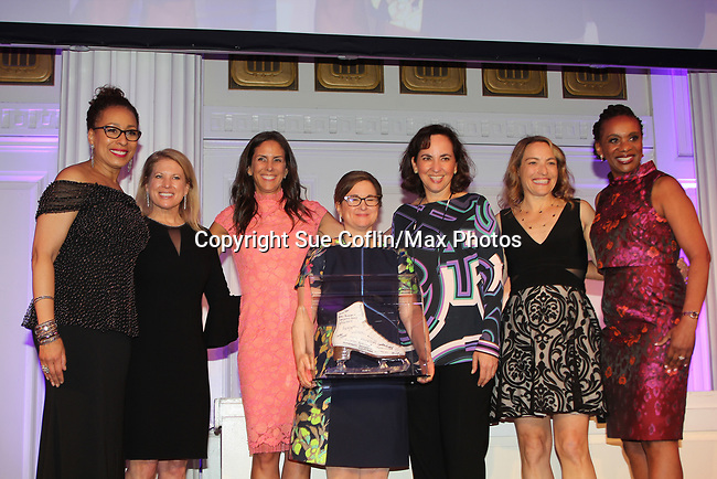 on stage - Tamara Tunie, Tina Lundgren, Sharon Cohen, , , Candace Matthews, Figure Skating in Harlem celebrates 20 years - Champions in Life benefit Gala on May 2, 2017 in New York City, New York. (Photo by Sue Coflin/Max Photos)
