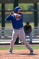 Chicago Cubs designated hitter Kevin Zamudio (4) at bat during an Extended Spring Training game against the Colorado Rockies at Sloan Park on April 17, 2018 in Mesa, Arizona. (Zachary Lucy/Four Seam Images)