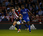 David Brooks of Sheffield Utd and Wilfred Ndidi of Leicester City during the Carabao Cup, second round match at Bramall Lane, Sheffield. Picture date 22nd August 2017. Picture credit should read: Simon Bellis/Sportimage