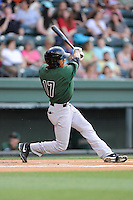 Center fielder Johneshwy Fargas (17) of the Augusta GreenJackets bats in a game against the Greenville Drive on Thursday, June 11, 2015, at Fluor Field at the West End in Greenville, South Carolina. Greenville won, 10-1. (Tom Priddy/Four Seam Images)