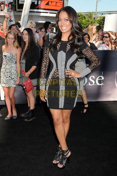 "LALA VASQUEZ .""The Twilight Saga: Eclipse"" Los Angeles Premiere at the 2010 Los Angeles Film Festival held at Nokia Theatre LA Live, Los Angeles, California, USA, 24th June 2010..full length hand on hip black grey gray dress long sleeve cut out mesh striped body con sheer see thru.CAP/ADM/BP.©Byron Purvis/AdMedia/Capital Pictures."