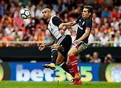 1st October 2017, Mestalla, Valencia, Spain; La Liga football, Valencia CF versus Athletic Bilbao; Simone Zaza (L) of Valencia CF competes for the ball with Cordoba of Athletic Club de Bilba