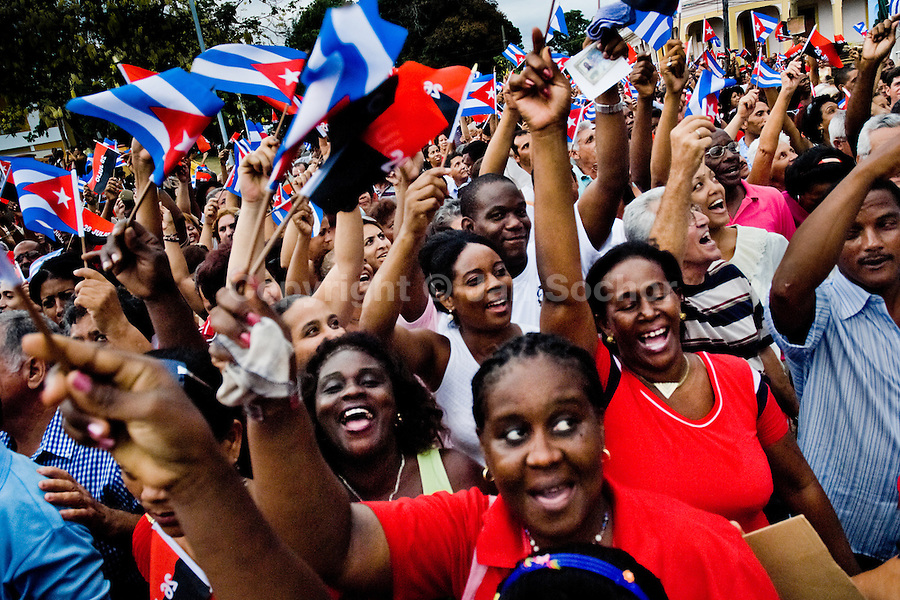 Hundreds of Cubans wave the national flags and express support for the regime of Fidel Castro and his brother Raul Castro during the annual celebration of the Cuban Revolution anniversary in Santiago de Cuba, Cuba, 26 July 2008. The Cuban revolution began when the poorly armed Cuban rebels, led by Fidel Castro, attacked the Moncada Barracks in Santiago de Cuba on 26 July 1953. The attack was easily defeated and most of the rebels were captured and later executed by the Batista regime. Although Fidel Castro had been sentenced to 15 years of prison, after less than two years he was released, he went to Mexico and in 1956, back in Cuba again, his guerilla group started a new rebellion.
