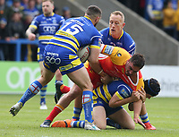 Catalans Dragons' Tony Gigot is tackled by Warrington Wolves' Declan Patton, Jason Clark and Chris Hill <br /> <br /> Photographer Stephen White/CameraSport<br /> <br /> Betfred Super League Round 17 - Warrington Wolves v Catalans Dragons - Saturday 8th June 2019 - Halliwell Jones Stadium - Warrington<br /> <br /> World Copyright © 2019 CameraSport. All rights reserved. 43 Linden Ave. Countesthorpe. Leicester. England. LE8 5PG - Tel: +44 (0) 116 277 4147 - admin@camerasport.com - www.camerasport.com