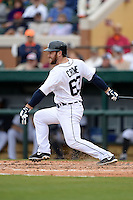 Detroit Tigers outfielder Trevor Crowe (63) during a spring training game against the Atlanta Braves on February 27, 2014 at Joker Marchant Stadium in Lakeland, Florida.  Detroit defeated Atlanta 5-2.  (Mike Janes/Four Seam Images)