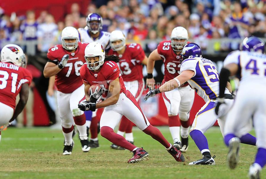 Dec. 14, 2008; Glendale, AZ, USA; Arizona Cardinals wide receiver (11) Larry Fitzgerald against the Minnesota Vikings at University of Phoenix Stadium. Mandatory Credit: Mark J. Rebilas-