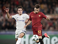 Football Soccer: UEFA Champions League AS Roma vs Chelsea Stadio Olimpico Rome, Italy, October 31, 2017. <br /> Roma's Stephan El Shaarawy (r) is going to score their second goals during the Uefa Champions League football soccer match between AS Roma and Chelsea at Rome's Olympic stadium, October 31, 2017.<br /> UPDATE IMAGES PRESS/Isabella Bonotto