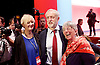 Labour Party Conference <br /> Day 4<br /> 30th September 2015 <br /> Brighton Centre, Brighton, East Sussex <br /> <br /> <br /> Jeremy Corbyn MP<br /> Leader of the Labour Party <br /> at conference closing with some delegates <br /> <br />  <br /> Photograph by Elliott Franks <br /> Image licensed to Elliott Franks Photography Services
