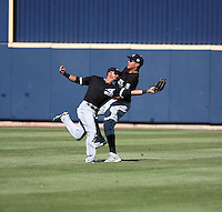 Jacob May (left, catching ball), Avisail Garcia (right) - Chicago White Sox 2016 spring training (Bill Mitchell)