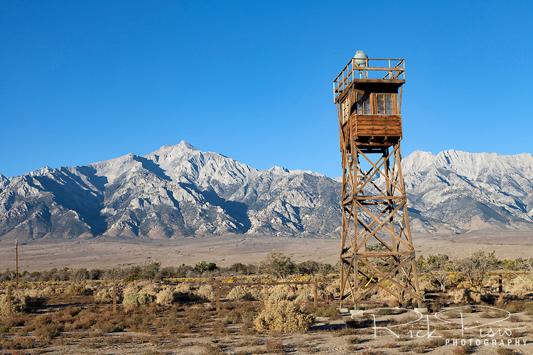 Guard Tower #8 at the Manzanar Relocation Center near Independence, California.  Guard Tower #8 was once one of eight guard towers that encircled the 6200 acre Manzanar Relocation Center located at the base of Mount Tyndall. Manzanar was one of the 10 relocation centers spread across the Western United States that by the end of the war had housed almost 10,000 Japanese-American internees.
