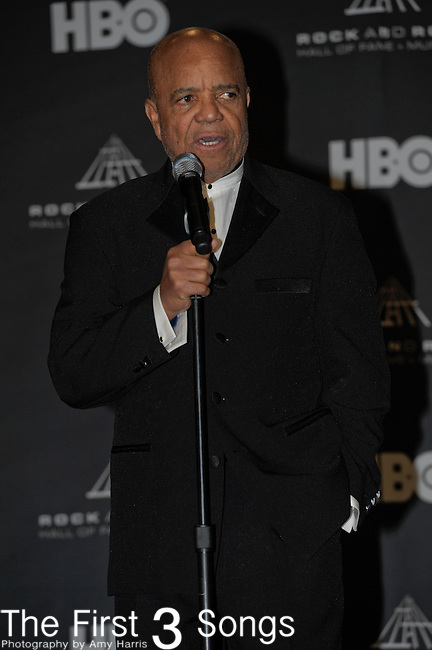 Berry Gordy in the press room of the Rock & Roll Hall of Fame Induction Ceremony in Cleveland, Ohio on April 14, 2012.