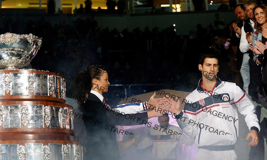 Tennis Tenis<br /> Davis Cup Final 2013<br /> Serbia v Czech Republic<br /> Novak Djokovic v Tomas Berdych<br /> Novak Djokovic <br /> Beograd, 17.11.2013.<br /> foto: Srdjan Stevanovic/Starsportphoto &copy;