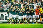 Solna 2014-08-13 Fotboll Allsvenskan AIK - Djurg&aring;rdens IF :  <br /> AIK:s Nabil Bahoui  har gjort 1-0 och jublar med lagkamrater<br /> (Foto: Kenta J&ouml;nsson) Nyckelord:  AIK Gnaget Friends Arena Allsvenskan Derby Djurg&aring;rden DIF jubel gl&auml;dje lycka glad happy
