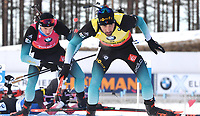 March 14th 2020, Kontiolahti, Finland;  Martin Fourcade and Emilien Jacquelin, both of France, compete during the mens 12.5 km Pursuit competition at the IBU Biathlon World Cup in Kontiolahti, Finland, on March 14, 2020.
