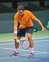 Swiss, Genève, September 14, 2015, Tennis,   Davis Cup, Swiss-Netherlands, practise Dutch team, Jesse Huta Galung<br /> Photo: Tennisimages/Henk Koster