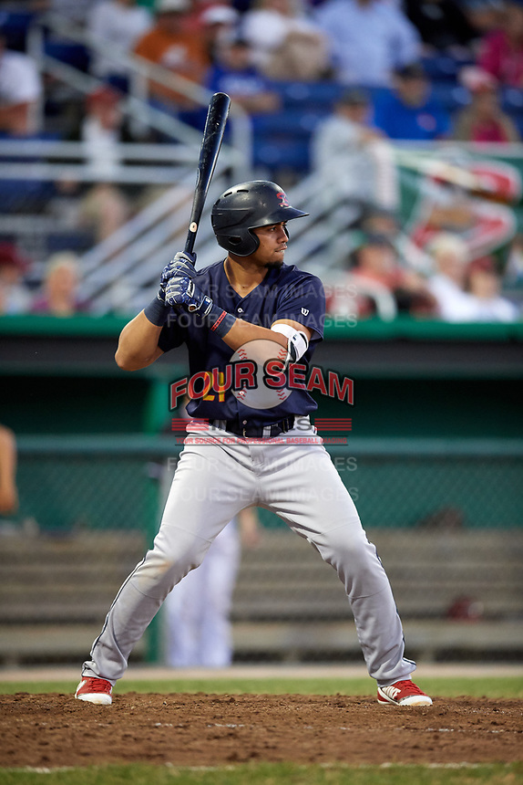 State College Spikes third baseman Stanley Espinal (21) at bat during a game against the Batavia Muckdogs on July 7, 2018 at Dwyer Stadium in Batavia, New York.  State College defeated Batavia 7-4.  (Mike Janes/Four Seam Images)
