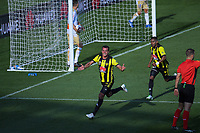 Steven Taylor celebrates as the Nix go 1-0 up during the A-League football match between Wellington Phoenix and Newcastle Jets at Westpac Stadium in Wellington, New Zealand on Sunday, 21 october 2018. Photo: Dave Lintott / lintottphoto.co.nz