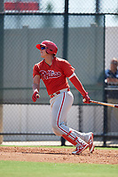 Philadelphia Phillies Abrahan Gutierrez (3) follows through on a swing a Florida Instructional League game against the Atlanta Braves on October 5, 2018 at the Carpenter Complex in Clearwater, Florida.  (Mike Janes/Four Seam Images)