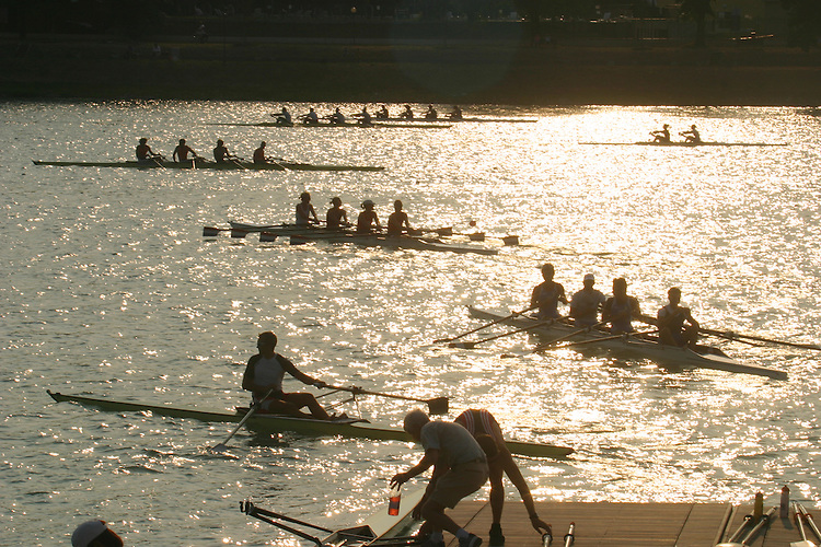 Rowing, Rowers launching racing shells at the FISA World Rowing Championships, Idroscalo Park, Milan, Lombardy, Italy, Europe, 2003,.