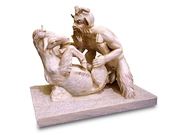"""""""Pan & Goat"""" Roman Mythical erotic sculpture from Pompeii. Naples Archaeological inv no: 27709"""