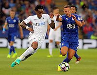 Pictured (L-R): Leroy Fer of Swansea City against Danny Drinkwater of Leicester City Saturday 27 August 2016<br /> Re: Swansea City FC v Leicester City FC Premier League game at the King Power Stadium, Leicester, England, UK