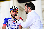 Thibaut Pinot (FRA) Groupama-FDJ at sign on before the start of Stage 1 of the 2019 Tour de France running 194.5km from Brussels to Brussels, Belgium. 6th July 2019.<br /> Picture: ASO/Alex Broadway | Cyclefile<br /> All photos usage must carry mandatory copyright credit (© Cyclefile | ASO/Alex Broadway)