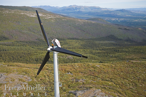 Yukon Energy Corporation wind turbines on Haeckel Hill overlooking Whitehorse