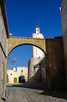 A lighthouse converted to a mosque. El Jadida, previously known as Mazagan, is a port city on the Atlantic coast of Morocco.