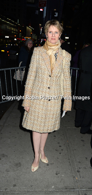 Cynthia Nixon attends Rogers +  Hammerstein's Cinderella Broadway Opening night on March 3, 2013 at the Broadway Theatre in New York City.