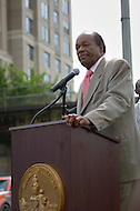 August 25, 2011 (Washington, DC)  Marion Barry (D-Ward 8) speaks at a press conference held by DC Mayor Vincent Gray (D-DC) held a press conference announcing the designation of the Southeast/Southwest Freeway, the 11th Street Bridge and sections of Maine and Independence Avenues SW as Martin Luther King, Jr. Drive.   (Photo by Don Baxter/Media Images International)