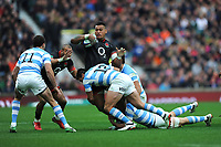 Nathan Hughes of England is tackled by Santiago Gonzalez Iglesias of Argentina during the Old Mutual Wealth Series match between England and Argentina at Twickenham Stadium on Saturday 11th November 2017 (Photo by Rob Munro/Stewart Communications)
