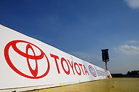 May 30, 2013; Englishtown, NJ, USA: Detailed view of the Toyota logo on the starting line of Raceway Park. Mandatory Credit: Mark J. Rebilas-