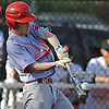 Dylan Bryant #1, Center Moriches second baseman, lifts a fly ball to left field in the top of the third inning of a Suffolk County varsity baseball game against host Babylon High School on Monday, April 17, 2017. Center Moriches won by a score of 3-1.