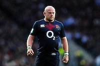 Dan Cole of England looks on during a break in play. Old Mutual Wealth Series International match between England and Fiji on November 19, 2016 at Twickenham Stadium in London, England. Photo by: Patrick Khachfe / Onside Images