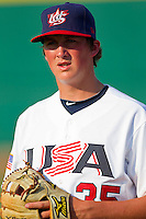 Kyle Funkhouser #35 of the USA 18u National Team prior to the game against the USA Baseball Collegiate National Team at the USA Baseball National Training Center on July 2, 2011 in Cary, North Carolina.  The College National Team defeated the 18u team 8-1.  Brian Westerholt / Four Seam Images